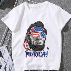 Abraham Lincoln 4Th Of July Murica Men Women American Flag Classic Women T Shirt