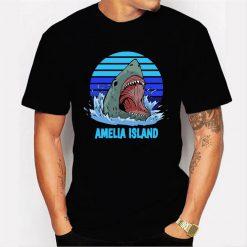 Amelia Island Vacation Shark Theme Men T Shirt