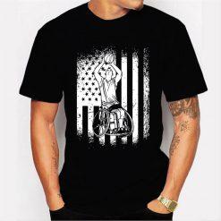 American Flag Usa Design For Wheelchair Basketball Men T Shirt