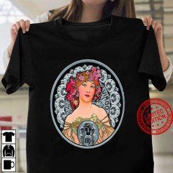 Art Nouveau Zodiac Signs Gypsy Fortune Teller Virgo Mucha Women T shirt