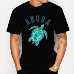 Aruba Beach Design Sea Turtle Illustration Gift Men T Shirt