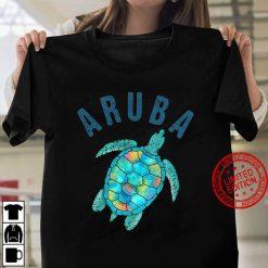 Aruba Beach Design Sea Turtle Illustration Gift Women T shirt