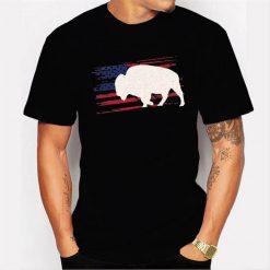 Buffalo Us American Flag Tamaraw 4Th Of July Bison Usa Gift Men T Shirt