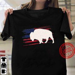 Buffalo Us American Flag Tamaraw 4Th Of July Bison Usa Gift Women T shirt