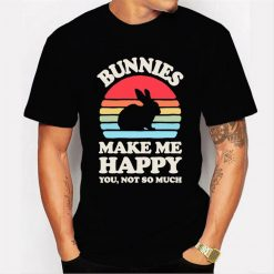 Bunnies Make Me Happy You Not So Much Funny Bunny Vintage Men T Shirt