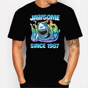 Jawsome Since 1987 Happy Shark 34 Birthday Men T Shirt