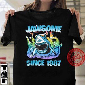Jawsome Since 1987 Happy Shark 34 Birthday Women T shirt