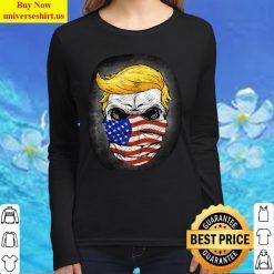 Trump USA Skull US Flag Mask Anti-Trump Skull Election Women Long Sleeved T Shirt