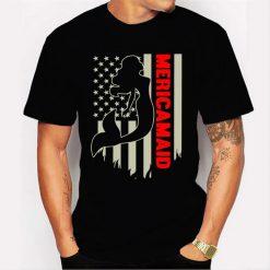 Womens Mericamaid 4Th Of July Usa Flag American Pride Mermaid Gift Men T Shirt