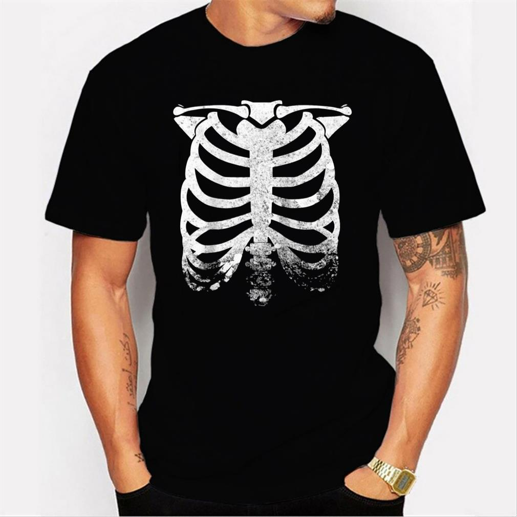 halloween skeleton rib cage retro vintage men t shirt
