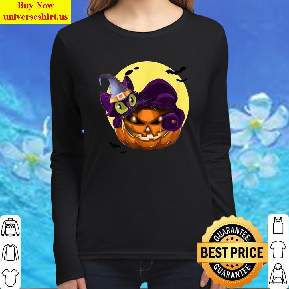 Premium Halloween Cat On Pumpkin Wearing Wizard Hat Tee T-Shirt Long Sleeved Shirt
