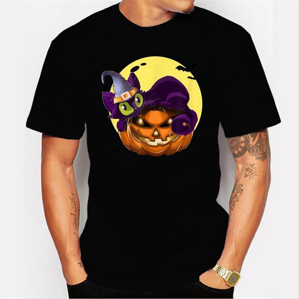 Premium Halloween Cat On Pumpkin Wearing Wizard Hat Tee T-Shirt Men T-shirt