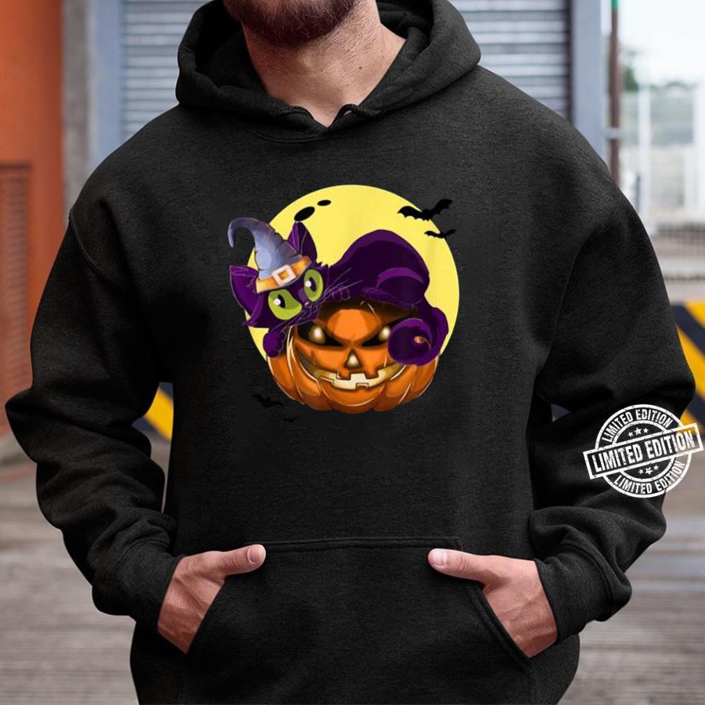 Premium Halloween Cat On Pumpkin Wearing Wizard Hat Tee T-Shirt Unisex Hoodie