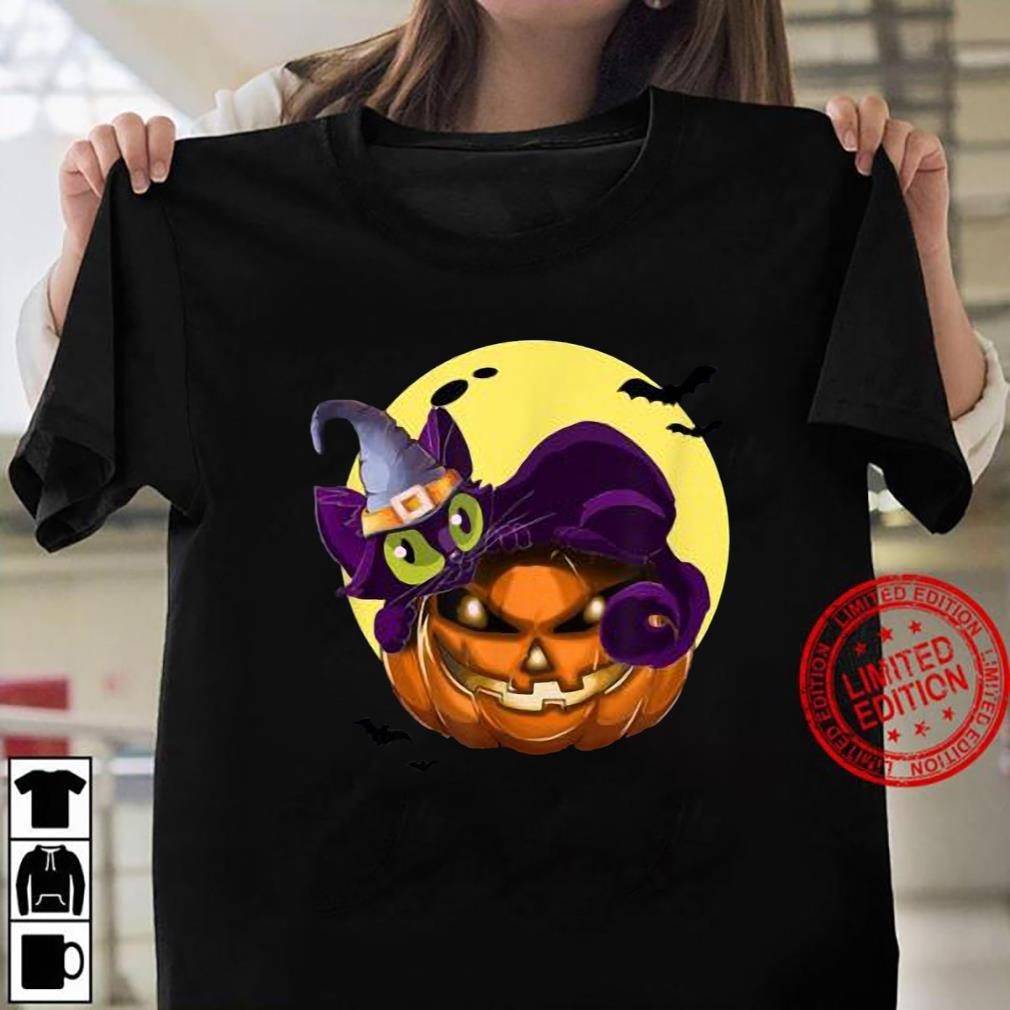 Premium Halloween Cat On Pumpkin Wearing Wizard Hat Tee T-Shirt Women T-shirt