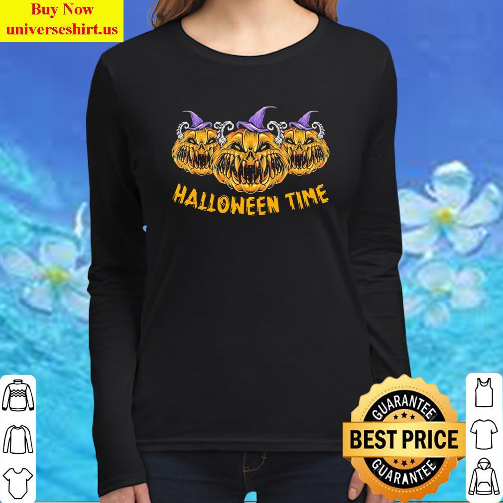 Pumkin Devil Halloween Time Scary Spooky Tee T-Shirt Long Sleeved Shirt
