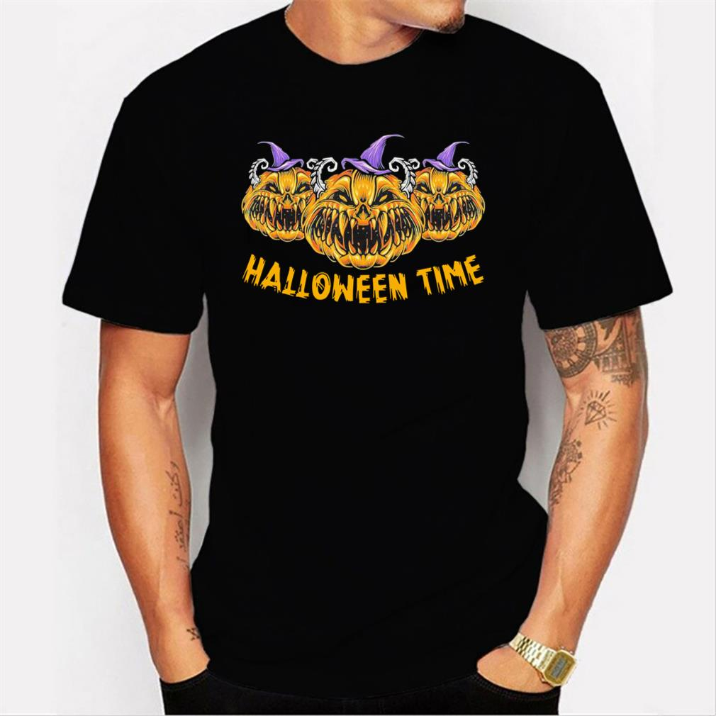 Pumkin Devil Halloween Time Scary Spooky Tee T-Shirt Men T-shirt